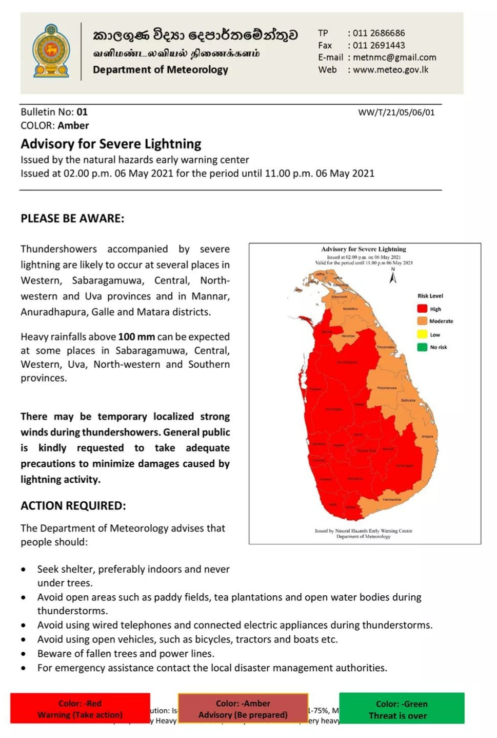 Red Alert advisory issued for severe lighting in 16 districts